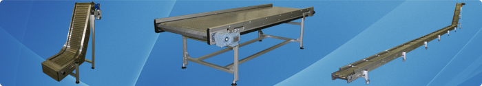 Chain conveyors with hinged steel belts